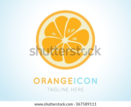 Orange logo. Logotype for citrus company. Refreshing yummy tropical summer fruit. Cocktail ingredient. Vector design illustration - stock vector