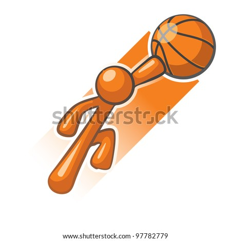 Orange Man basket ball hero slam dunk image. - stock vector