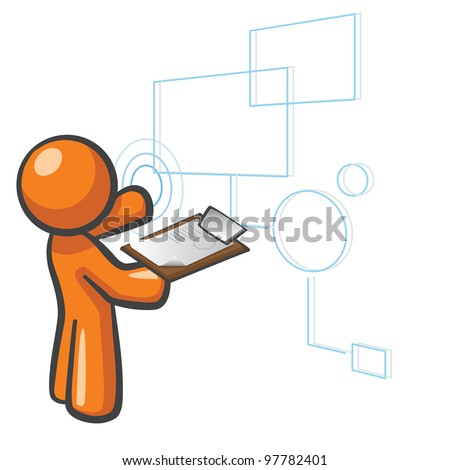 Orange Man databases concept, organizing/managing data and content. - stock vector
