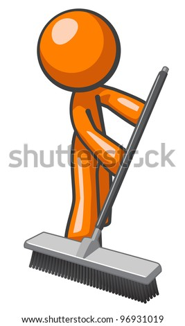 Orange man sweeping and pushing a broom. - stock vector
