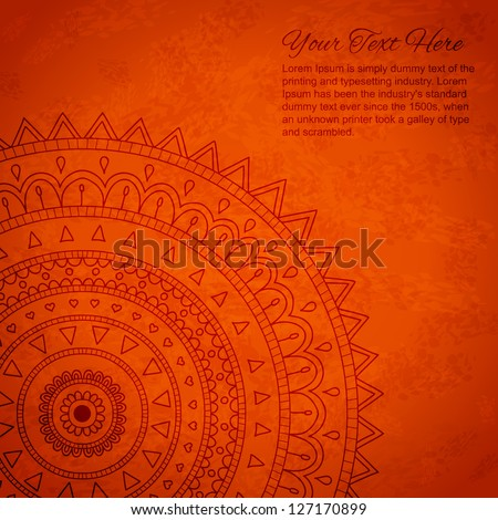 Orange mandala ornament background with space for your text.. - stock vector