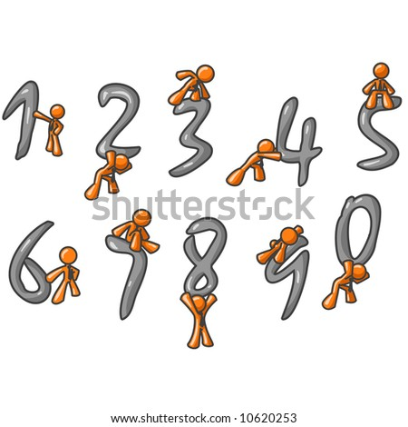 Orange men interacting with the numbers 0-9.