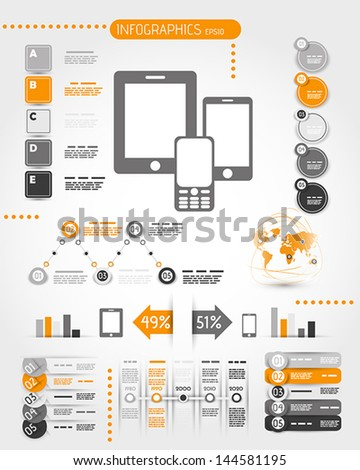 orange mobile phone world infographics. infographic concept.