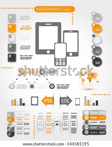 orange mobile phone world infographics. infographic concept. - stock vector