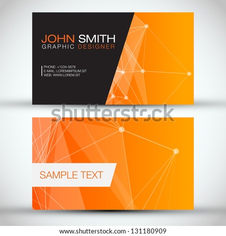 Orange Modern Abstract Business - Card Set | EPS10 Vector Design - stock vector