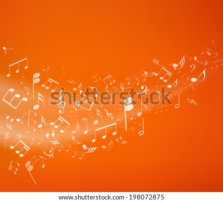Orange music background. Vector illustratin. - stock vector