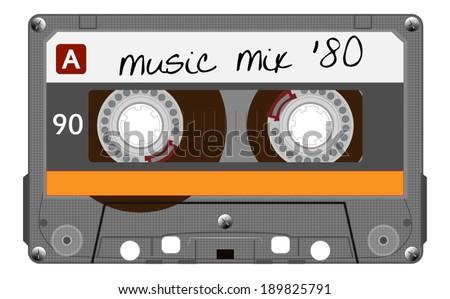 Orange musiccasette, cassette tape, vector art image illustration, isolated on white background, eps10 - stock vector
