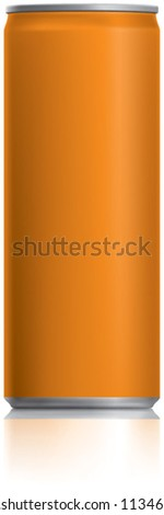 Orange narrow thin can vector visual 250 ml ideal for Fizzy Orange Juice drink, beer, lager, alcohol, soft drinks, soda, fizzy pop, energy drink etc. Drawn with mesh tool. Fully adjustable & scalable