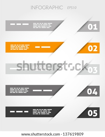 orange oblique stickers with five options. infographic concept. - stock vector
