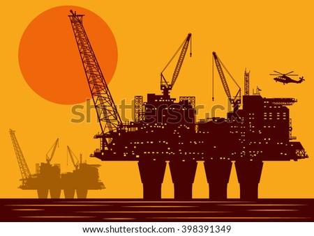 orange oil platform - stock vector