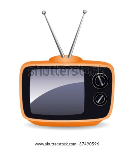 Orange old-fashioned television vector icon. - stock vector