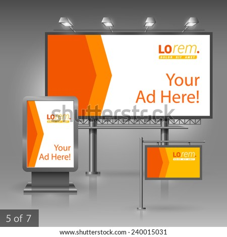 Orange outdoor advertising design for company with red arrow. Elements of stationery. - stock vector