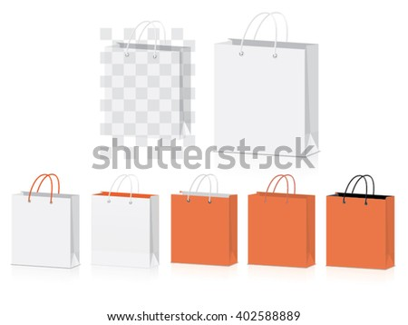 orange paper bag for your design EPS10 Vector Mock up