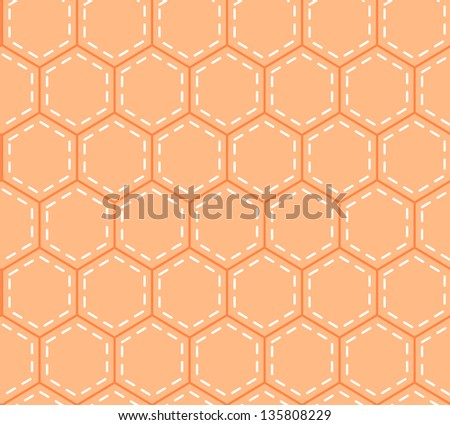 Orange patchwork hexagon stitched quilt seamless pattern, vector - stock vector