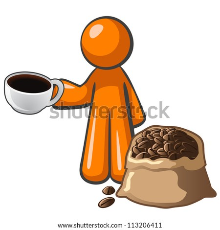 Orange person with coffee cup and coffee bag, advertising quality grown and processed coffee, from plantation to the cup. - stock vector