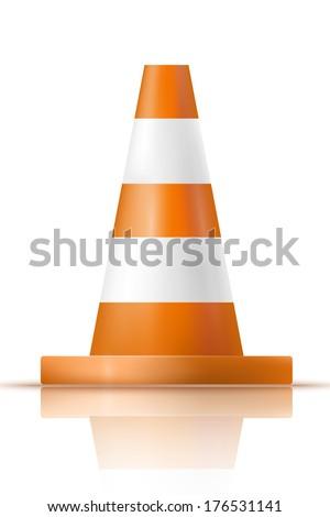Orange plastic traffic cone with reflection - stock vector