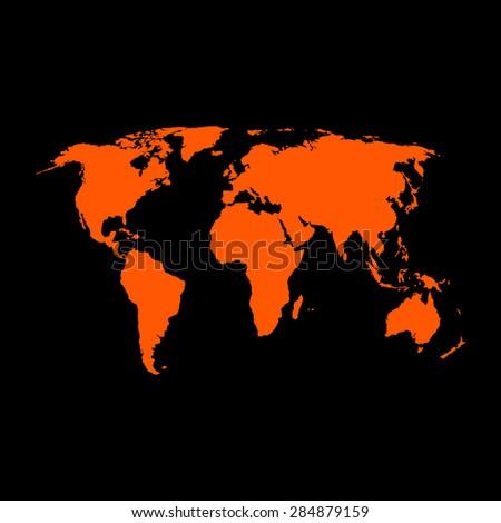 Orange Political World Map Illustration on a black background - stock vector