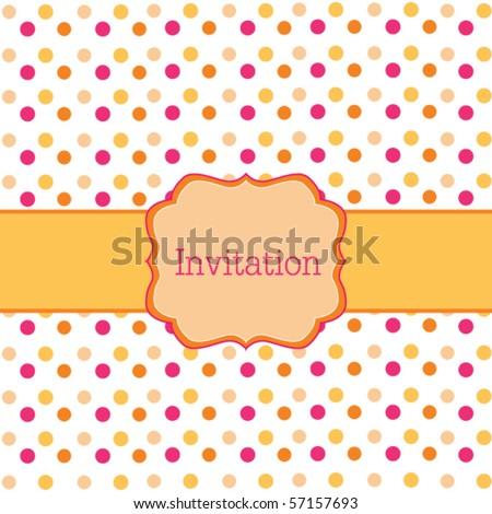 Orange polka dot design  frame - stock vector