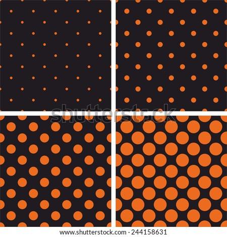 Orange polka dots on black vector background set. Tile decoration wallpaper or autumn pattern collection - stock vector