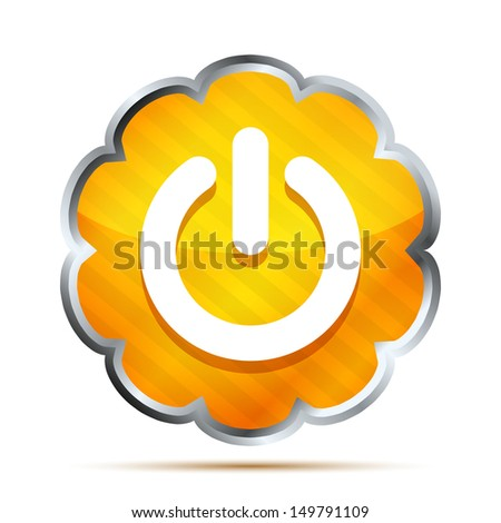 orange power button icon on a white background - stock vector
