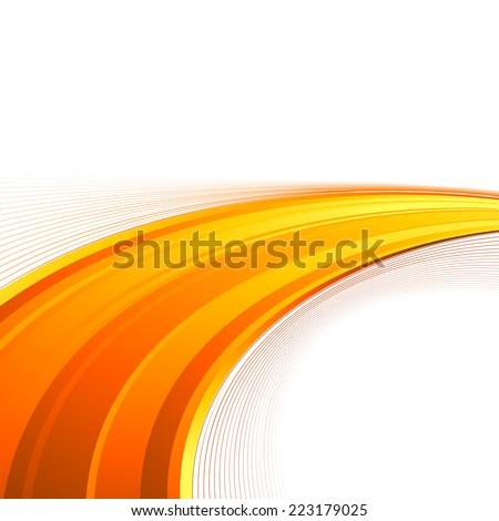 Orange power swoosh wave folder template - bright lines certificate background. Vector illustration - stock vector