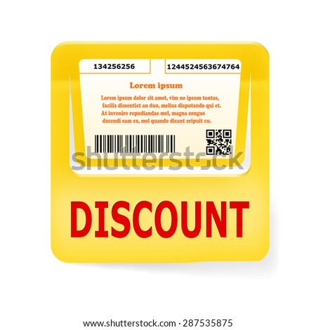 Orange price tag DISCOUNT. Vector illustration - stock vector