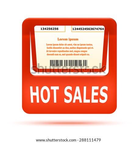 Orange price tag HOT SALES. Vector illustration - stock vector