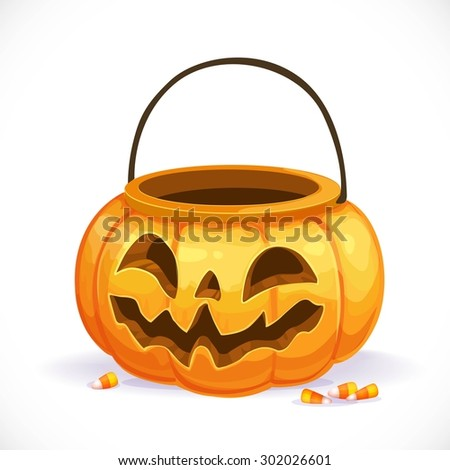 Orange pumpkin basket to collect candy on Halloween - stock vector