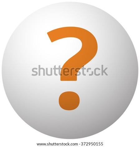 Orange Question Mark icon on sphere isolated on white background