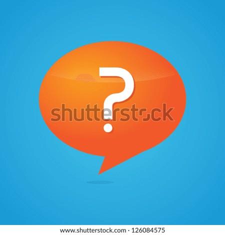 Orange Question Speech Bubble - stock vector