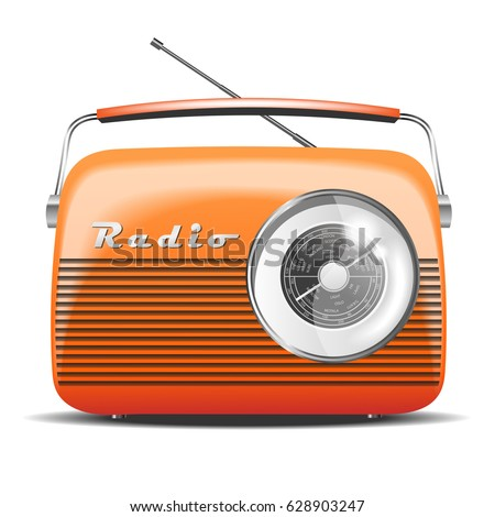 orange retro radio vintage vector illustration stock. Black Bedroom Furniture Sets. Home Design Ideas