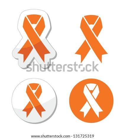 Orange ribbon - leukemia, hunger, humane treatment of animals sign - stock vector