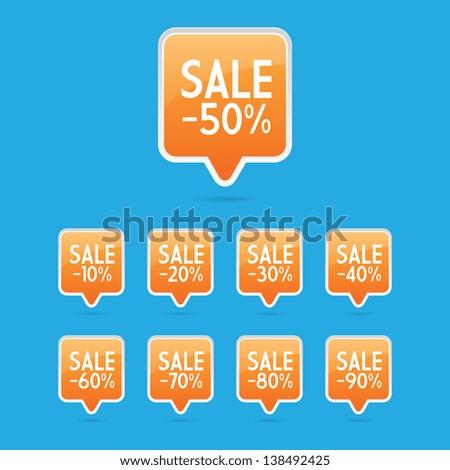 Orange Sale Pin Labels - stock vector