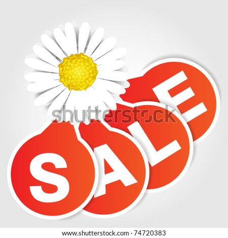 Orange sale tags - flower - stock vector