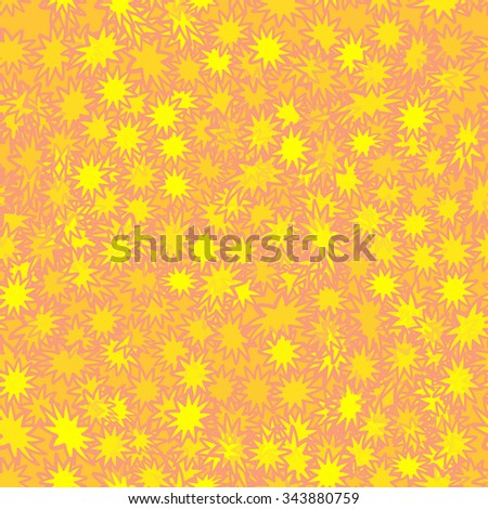 orange seamless pattern with yellow flowers - stock vector