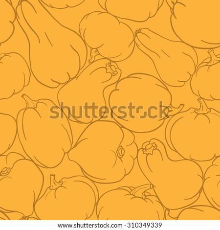 Orange seamless pumpkins pattern background. Pumpkin Background seamless pattern - stock vector