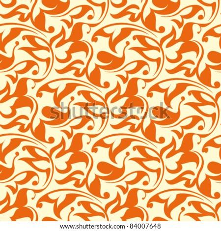 Orange seamless wallpaper pattern - stock vector