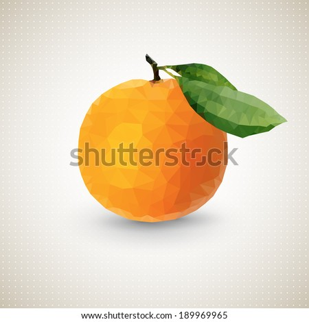 Orange. Set of polygonal origami triangle fruits . Origami style. Polygonal fruit. Vector illustration - stock vector