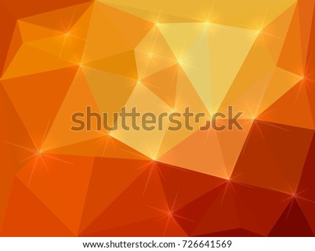 orange shining background made from polygons