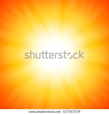 Orange shining vector sun - stock vector