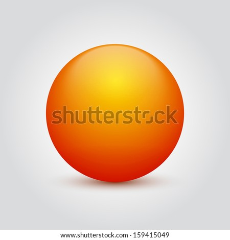 Orange shiny sphere isolated on white. Vector illustration - stock vector