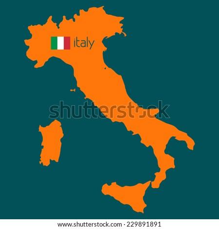 Orange silhouette of Italy with flag on a sherpa blue background. Vector - stock vector