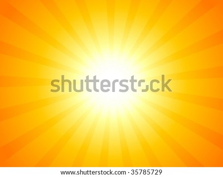 Orange sky and dramatic sun. Vector illustration.