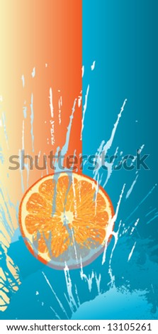 orange slice fall in to the water - stock vector