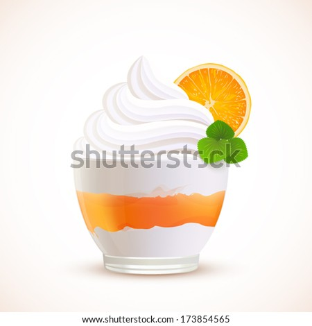 Orange sliced ice cream dessert, vector illustration - stock vector
