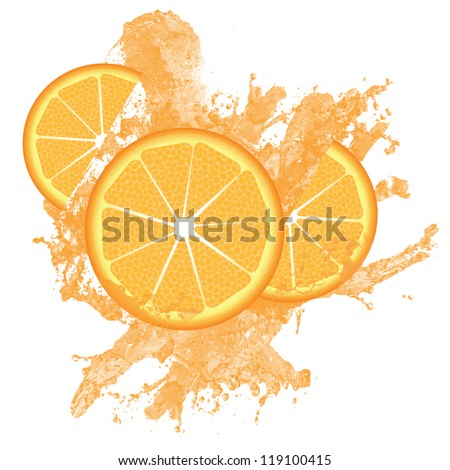 Orange slices and juice splashing isolated on white, vector illustration - stock vector