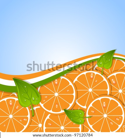 Orange slices with leaves and ribbon document template - stock vector