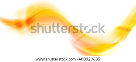 Orange smooth blurred abstract waves. Vector bright wavy graphic design background. Colorful yellow waves design - stock vector