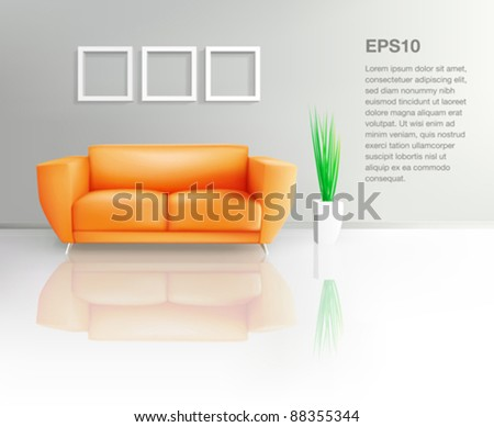 Orange Sofa In Living Space (EPS10) - stock vector