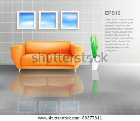 Orange Sofa In Tiled Living Space (EPS10) - stock vector